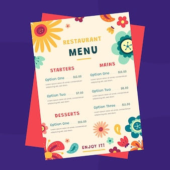 Płaski szablon menu restauracji