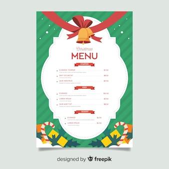 Płaski szablon menu świąteczne z dźwięczących dzwonów