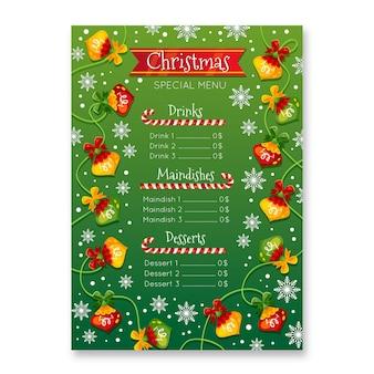 Płaski szablon menu świąteczne