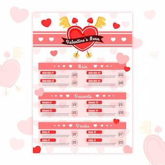Płaski szablon menu walentynki z serca