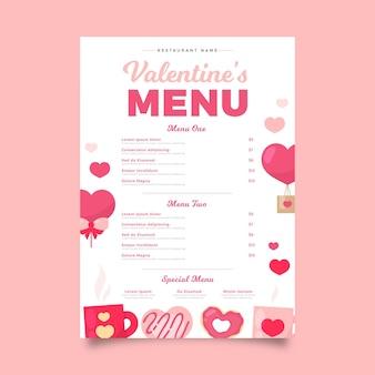 Płaski szablon menu walentynki