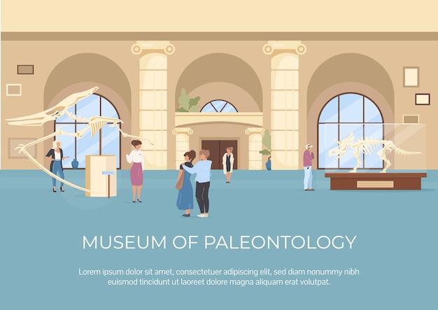 Płaski szablon muzeum paleontologii plakat. ekspozycja na skamieniałości. przewodnik po galerii. broszura, broszura projekt jednej strony z postaciami z kreskówek. ulotka z wystawy archeologicznej, ulotka