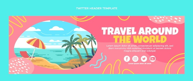 Płaski szablon nagłówka twittera podróży