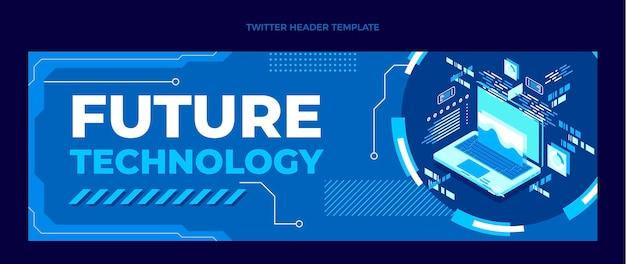 Płaski szablon nagłówka twittera w minimalnej technologii