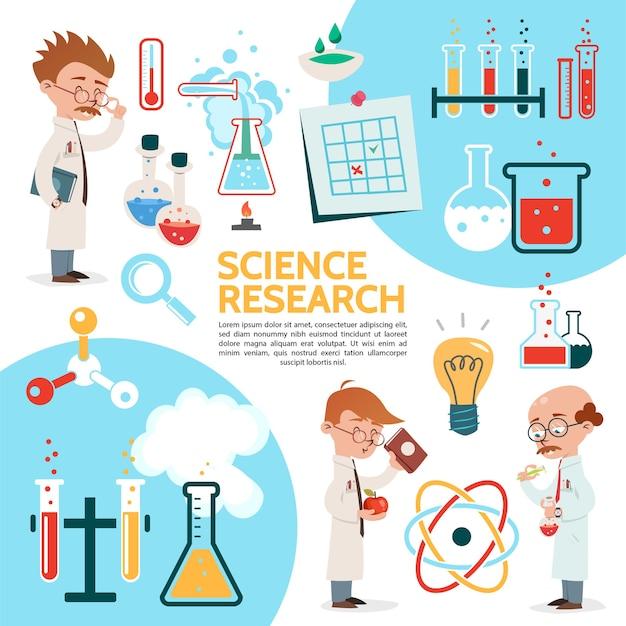 Płaski szablon naukowy z eksperymentami naukowymi, naukowcy butelkują probówki, butelki, żarówki