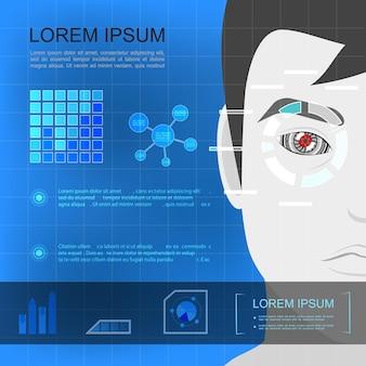 Płaski szablon nowoczesnej technologii z twarzą człowieka z ilustracjami wykresów i diagramów sztucznego oka,