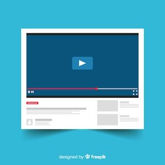 Płaski szablon odtwarzacza multimedialnego youtube
