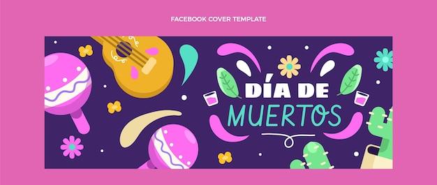 Płaski szablon okładki mediów społecznościowych dia de muertos