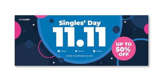 Płaski szablon okładki mediów społecznościowych na dzień singli