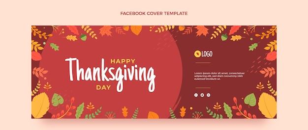 Płaski szablon okładki mediów społecznościowych na święto dziękczynienia
