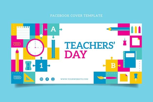 Płaski szablon okładki mediów społecznościowych z okazji dnia nauczyciela