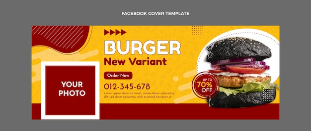 Płaski szablon okładki na facebooku fast food