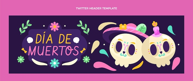 Płaski szablon okładki na twitter dia de muertos
