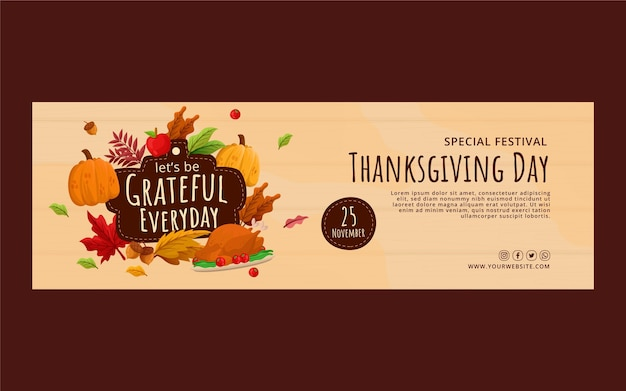 Płaski szablon okładki na twitter na święto dziękczynienia