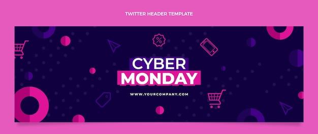 Płaski szablon okładki twitter w cyber poniedziałek