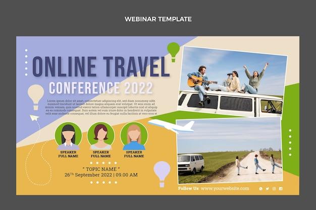 Płaski szablon okładki webinaru podróży