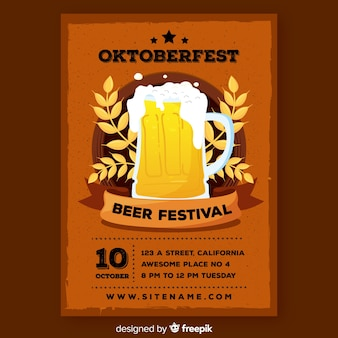 Płaski szablon oktoberfest plakat szablon
