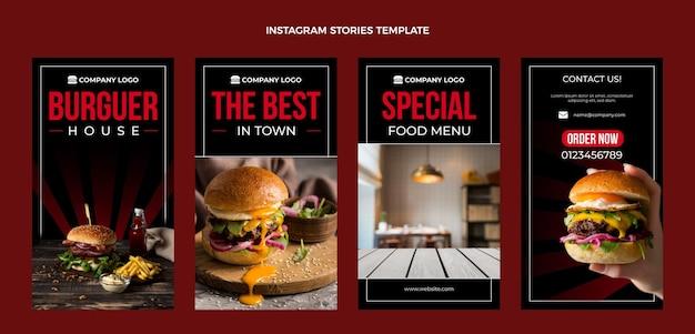 Płaski szablon opowieści o jedzeniu na instagramie