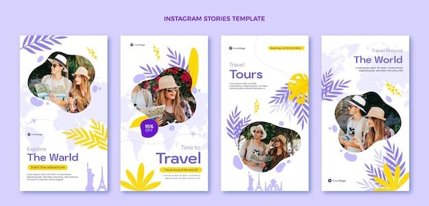 Płaski szablon opowieści o podróżach na instagramie