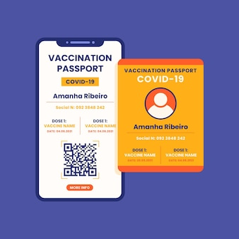 Płaski szablon paszportu szczepień