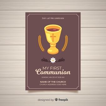 Płaski szablon pierwszej komunii z zaproszeniem