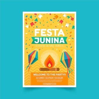 Płaski szablon pionowego plakatu festa junina