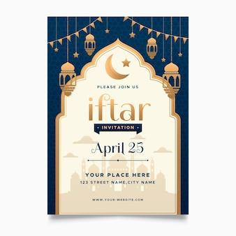 Płaski szablon pionowego plakatu iftar