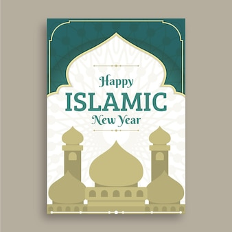 Płaski szablon pionowego plakatu islamskiego nowego roku