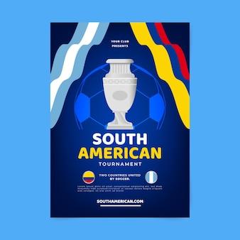 Płaski szablon pionowego plakatu piłki nożnej południowoamerykańskiej