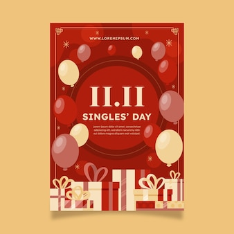 Płaski szablon pionowy plakatu dnia singli