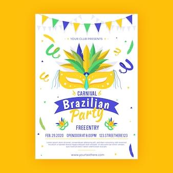 Płaski szablon plakat karnawał brazylijski