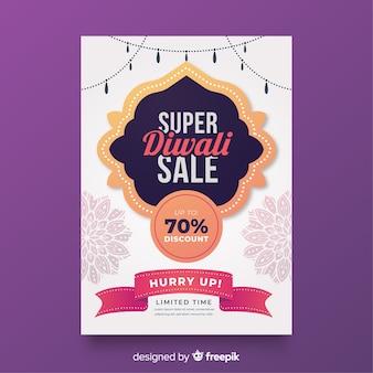 Płaski szablon plakat sprzedaż diwali ze wstążką oferty