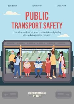 Płaski szablon plakatu bezpieczeństwa transportu publicznego
