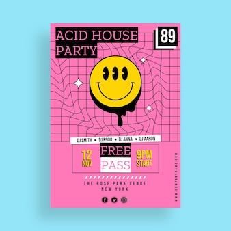 Płaski szablon plakatu emoji party kwas