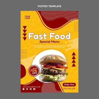 Płaski szablon plakatu fast food