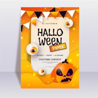 Płaski szablon plakatu halloween party z dynią