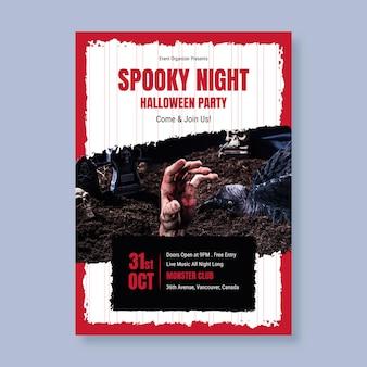 Płaski szablon plakatu halloween party ze zdjęciem