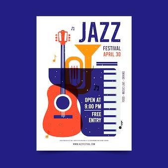 Płaski szablon plakatu międzynarodowego dnia jazzu