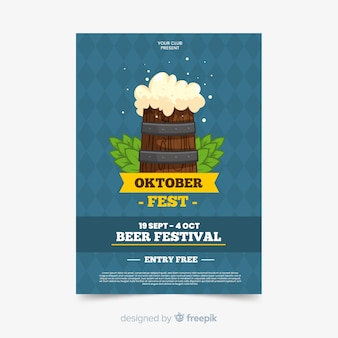 Płaski szablon plakatu oktoberfest