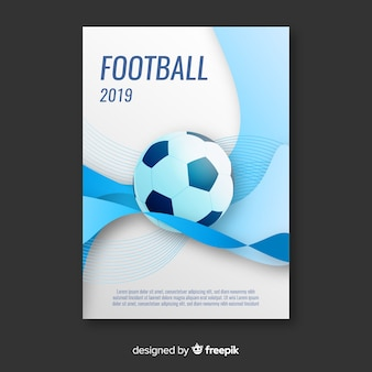 Płaski szablon plakatu piłkarskiego