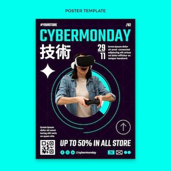 Płaski szablon plakatu pionowego cyber poniedziałek