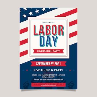 Płaski szablon plakatu pionowego dnia pracy