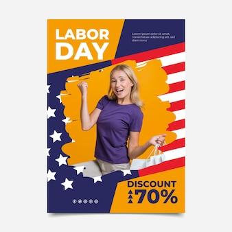 Płaski szablon plakatu pionowej sprzedaży święta pracy w usa ze zdjęciem