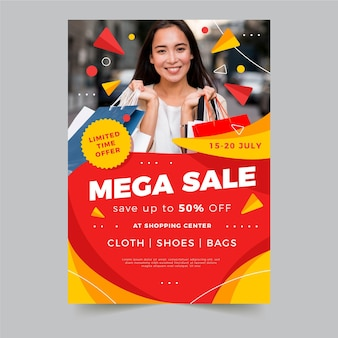 Płaski szablon plakatu pionowej sprzedaży ze zdjęciem