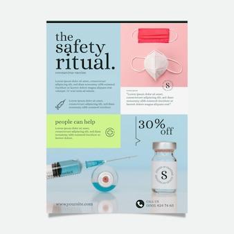 Płaski szablon plakatu produktów medycznych koronawirusa ze zdjęciem