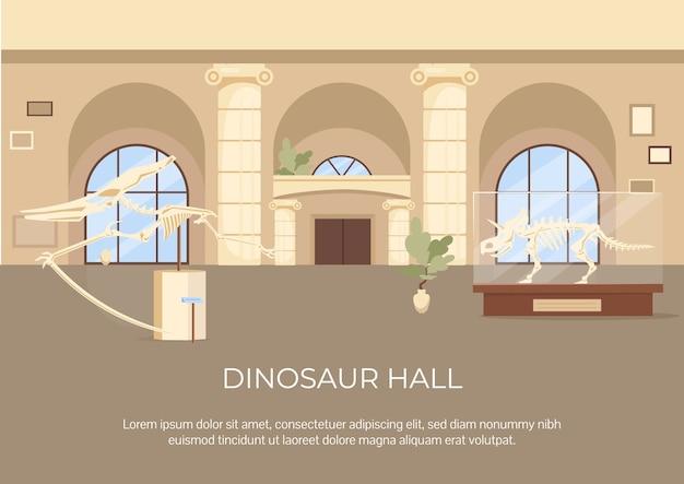 Płaski szablon plakatu sali dinozaurów. skamieniałości i szkielet na wystawie. broszura, broszura projekt jednej strony z postaciami z kreskówek. ulotka wystawy archeologicznej, ulotka