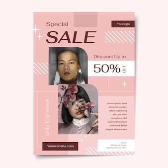 Płaski szablon plakatu sprzedaży ze zdjęciem