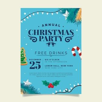 Płaski szablon plakatu świątecznego