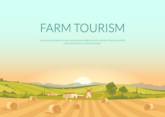 Płaski szablon plakatu turystyki rolniczej