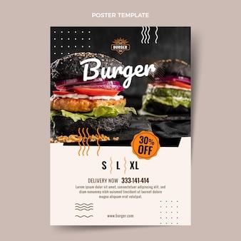 Płaski szablon plakatu z burgerami